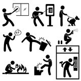 People Vandalism Violence Gangster. A set of pictograms representing gangster and thug doing vandalism act Royalty Free Stock Photo