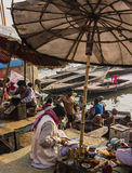 People in Varanasi. People on the ghats of the holy city of Varanasi Royalty Free Stock Photos