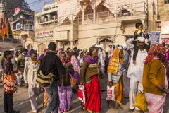 People in Varanasi. People on the ghats of the holy city of Varanasi Stock Images