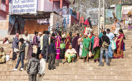 People in Varanasi. People on the ghats of the holy city of Varanasi Royalty Free Stock Photography