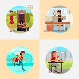 People with various addictions vector flat illustration royalty free illustration