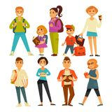 People of various ages with books and bags Stock Photo