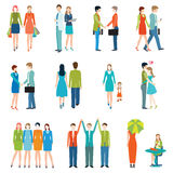 People in various lifestyles. People in various lifestyles, business people, friends, senior couple, lovers, shake hand, teamwork. Character set with flat Stock Photography