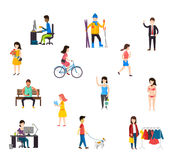 People in various lifestyles. People in various lifestyles, businesspeople, woman working, teenager walking to the dog, Set of cartoon people Royalty Free Stock Photo
