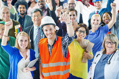 People with Various Occupations Arms Raised.  Royalty Free Stock Image