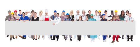 People with various occupations holding blank billboard. Against white background stock image