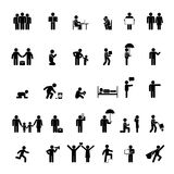 People in various poses. Vector people icons in various poses. Family, love and interaction Stock Image
