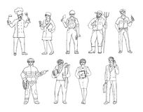 People of various professions in overalls and with tools in hand. Vector black and white sketch of a realistic illustration. Women Royalty Free Stock Image