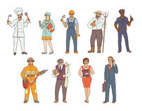 People of various professions in overalls and with tools in hand. Vector colored sketch of a realistic illustration. Women and men. Working in different sectors Royalty Free Stock Photo