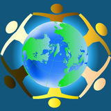 People of various races holding hands. Across the globe - concept for racial harmony, world peace etc vector illustration