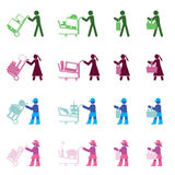 People with various shopping actions Royalty Free Stock Photo