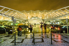 People at Vasco da Gama shopping center in rain Royalty Free Stock Images