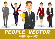 People vector with business characters. Business men and women with briefcases holding trophy, organizer walking forward crossing finish line Stock Photos