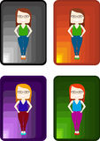 People vector character. Set stylish girls on colourful backgrounds Stock Images