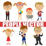 People vector children set. Page boy, roller skater, soccer player, schoolboy, singer, girl with tablet computer. People vector children set. Page boy, roller Stock Image