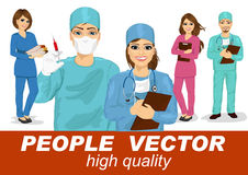 People vector with doctors, surgeons and nurses. Doctors, surgeons and nurses with stethoscope in multi colored scrubs holding syringe, clipboard and stack of stock illustration