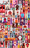 People vector illustration. Large group of people. Art composition of abstract portraits - vector illustration. Can be used as seamless wallpaper Stock Image