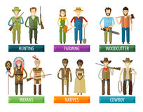 People vector logo design template. farmer, hunter Royalty Free Stock Images