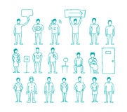 People vector set drawing hand standing and Stock Image