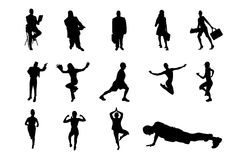 People Vector Silhouette. Lifestyle People in Different Poses Silhouette Vector. Collections of Figure from The People Performed in Silhouette stock illustration