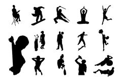 People Vector Silhouette - 05. Lifestyle People in Different Poses Silhouette Vector. Collections of Figure from The People Performed in Silhouette royalty free illustration