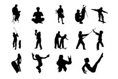 People Vector Silhouette - 06. Lifestyle People in Different Poses Silhouette Vector. Collections of Figure from The People Performed in Silhouette royalty free illustration