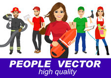 People vector with various characters. Fireman, young post man, delivery boy car wash girl lifeguard Stock Photography