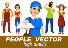 People vector with various characters Royalty Free Stock Photos