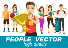 People vector with various sport characters Stock Images