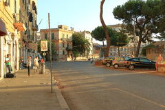 People and vehicles at the Piazza Di Porta Maggiore in Rome, Ita Royalty Free Stock Photos