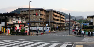 People and vehicles on street in Kyoto, Japan Stock Photography