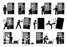 People with Vending Machine. Pictogram depicts a person using vending machine and destroying it. The stick figures also shows a worker stocking up, fixing, and Stock Photography
