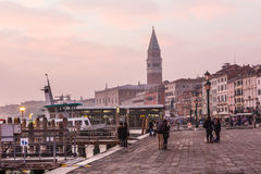 People at Venice with Campanile bell tower at background. Stock Photography