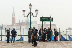People at Venice with Church of San Giorgio Maggiore at backgrou Stock Photography