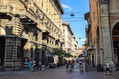 People on the Via degli Orefici in Bologna. Italy. Bologna, Italy - August 18, 2014: People on the Via degli Orefici in Bologna. Italy Stock Photos