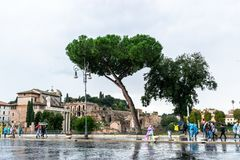 People on Via Dei Fori Imperiali Street alongside the ruins of the Forum of Augustus Forum Romanum in Rome, Italy. royalty free stock photos
