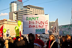 People in Vienna are demonstrating against Government's budget cut for Families Stock Photo