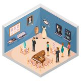 People Viewing Museum Exhibits. Isometric composition with guide conducting excursion on theme of historical fashion and interior items vector illustration Royalty Free Stock Images