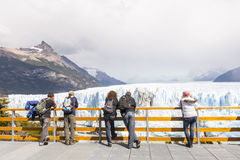 People at the viewing platform of Perito Moreno glacier. The Perito Moreno Glacier is a glacier located in the Los Glaciares National Park in southwest Santa Stock Image