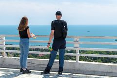 People on the viewing platform in Sochi. Russia royalty free stock photo