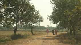 People on the village road stock video footage