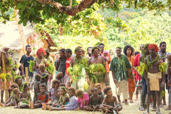 Villagers on Solomon Island. Inhabitants of small Island in South Pacific Ocean decorated with leaves and flowers waiting for the dance ceremony Nemba, Utupua Stock Photography