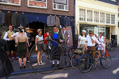 People in vintage style clothes on Tweed Ride, Amsterdam, Nether Royalty Free Stock Images