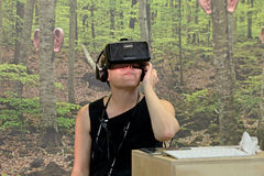 People with virtual reality glasses at Sonar Festival Royalty Free Stock Photo