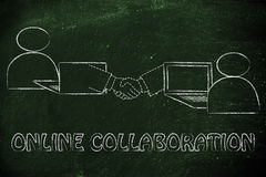 People virtually shaking hands online, metaphor of collaboration Royalty Free Stock Images
