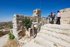 People visit Ajloun fortress in Ajloun, Jordan. Stock Photography
