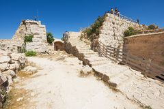 People visit Ajloun fortress in Ajloun, Jordan. Stock Photo