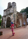 People visit the ancient fort in Melaka, Malaysia Royalty Free Stock Images