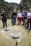 People visit Beautiful hidden city Machu Picchu Stock Images