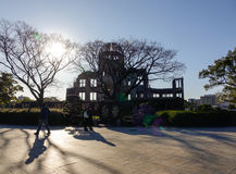 People visit the A-bomb Dome in Hiroshima, Japan Royalty Free Stock Photography